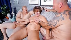 REIFE SWINGER - Chubby German granny sucks and fucks two cocks in naughty threesome