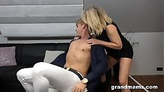 Horny 50 years old cougar rimming young boy's anus