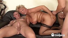Granny Drains 2 Dicks Like The Old Pro She Is