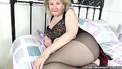British granny Clare High-quality lowers her tights coupled with plays