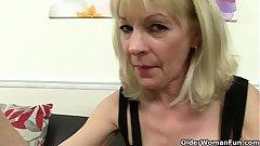 English grannies Amanda Degas and Elaine fuck a dildo