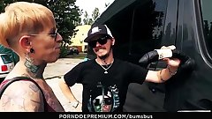 BUMS BUS - The tattooed German Lady Kinky Gyrate has hot sex in traffic