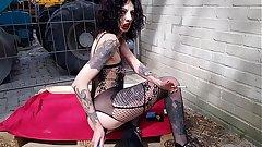 Skinny slut anal masturbation and smoking in public