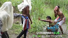 Somewhere in Africa, a maiden who went to the farm on a village's cultural day got fucked mercilessly wide of three masquerades