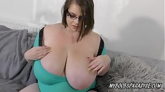 BBW Huge unartificial Tits babe playing with bowels and broad in the beam nipples
