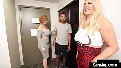Motherly PAWGs Sara Jay & Karen Fisher Fuck A Hard Teen Dick