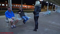 Public threesome with Twin Facial directly on the station!