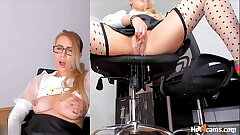 Toying My Pussy Squirting On My Date Chair