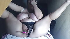 Erotic Lady With Obese Tits Masturbates Wet Pussy