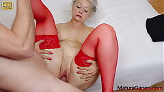 Pussy gaping and hard fucking be expeditious for hot grandmam