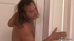 Long-haired age-old man handling son's brunette gf
